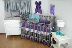 Purple And Aqua Crib Bedding With Grey Satin Fabrics