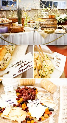 Food table at vintage picnic themed baptism reception