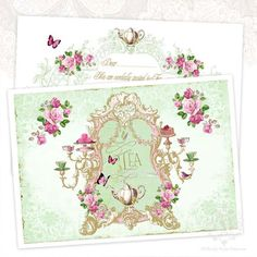 Tea party invitation notecards shower tea pink by mulberrymuse, $15.95