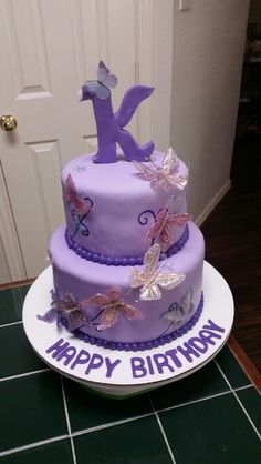 """Amy's Crazy Cakes - Butterfly Cake with a """"K"""" topper"""