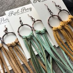 Leather Fringe, Leather Tooling, Suede Leather, Fringe Earrings, Leather Earrings, Hair Slide, Leather Pieces, Soft Summer, Hammered Copper