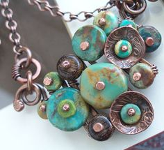 Keirsten Giles/Lune Designs - Turquoise Buttons Necklace with Brown Wood and Antiqued Copper