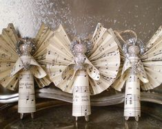 10 Beautiful Sheet Music Christmas Ornaments You Can Make Yourself, DIY and Crafts, Sheet Music, Clothespin, Angel Ornaments - (No tutorial/pic only). Music Christmas Ornaments, Christmas Crafts For Adults, Christmas Paper, Book Crafts, Christmas Angels, Christmas Projects, Holiday Crafts, Christmas Holidays, Musical Christmas Decorations