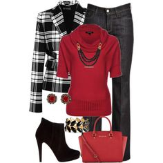 Red Jumper by jennifernoriega on Polyvore featuring Morgan, Versace, 7 For All Mankind, Bonbons, MICHAEL Michael Kors, H&M, Konplott and Ice