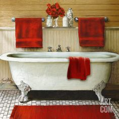 MY DAD'S PARENTS HOME IN ALAMEDA, CA HAD A BATH-TUB JUST LIKE THIS.  NO RED TOWELS THOUGH.
