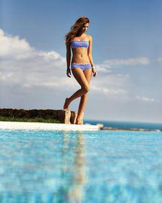 Light blue bikini strapless top