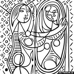 Pablo Picasso - Girl Before a Mirror coloring page