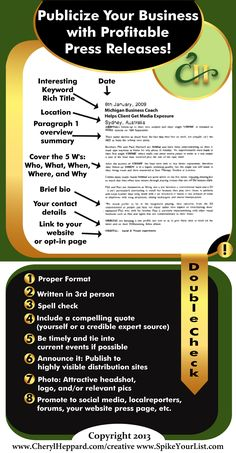 Publicize Your Business with Profitable Press Releases infographic by Cheryl Heppard
