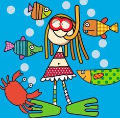 "Gaby Moad   illustrator on Instagram: ""Beachy stuff 🐟"" Illustrators On Instagram, Illustration, Illustrations"