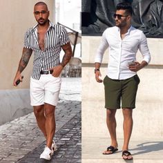 Left or right? Choose your favorite look! Miami Outfits, Summer Outfits Men, Short Outfits, Trendy Mens Fashion, Stylish Men, Men Casual, Fashion Men, Miami Fashion, Menswear