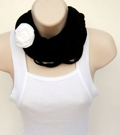 Upcycled Black and White TShirt Scarf by CustomGiftCreations. I love these tshirt scarfs!!!