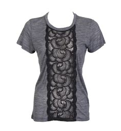 The panel of delicate lace on this heather gray tee brings the eye to the center, making the torso appear smaller.SHOP NOW: Amber Sakai Lace Panel T, $159