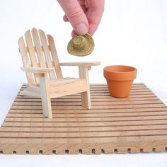Miniature Garden Set with Cedar Deck, Adirondack, Hat and Terra Cotta Pot, Set of 4