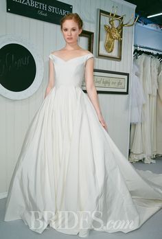 "Off-the-Shoulder Wedding Dresses . ""Audrey"" silk faille ball gown wedding dress with Cathedral length train and paneled bodice, Elizabeth Stuart. Classic Wedding Gowns, Wedding Dresses 2014, Wedding Dress Shopping, Perfect Wedding Dress, Wedding Dress Styles, Gown Wedding, Ball Dresses, Ball Gowns, Dresses Dresses"
