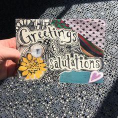 Handmade postcard by Tracy Darlin for @ihanna's DIY Postcard Swap spring 2016 #diypostcardswap #diy #mailart #salutations