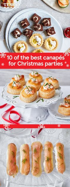 Get ahead with your festive party planning with our Christmas canapé recipes. From delicate smoked salmon eclairs, to fun, spicy quesadillas, everyone will love tucking into these festive finger foods. | Tesco