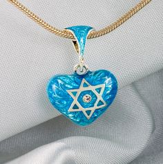 Sterling Silver Judaica Pendant Heart w  Star of David- Magen David  and Chai in Turquoise Enamel