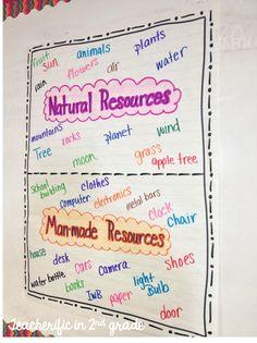 Natural and man-made resources anchor chart