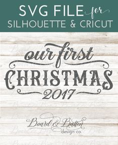 "By popular request, this vintage style ""our first Christmas"" SVG File for Silhouette & Cricut is perfect for anyone who prefers a more retro/vintage look to their decor. This design is personalizable and includes all 10 numbers in case you want to edit the date or create an Est. Date. Just add your own text, cut, and you're done! Perfect for ornaments, wall signs, or other festive memorabilia; commercial use is included. Christmas Labels, Christmas Svg, Christmas Quotes, First Christmas, Vintage Christmas, Christmas 2017, Christmas Ornaments, Xmas, Silhouette Curio"