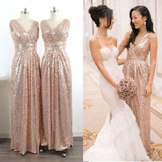 dc35e474972 Wholesale Bling Rose Gold V Neck Sequined Maid of Honor Dresses Backless  Plus Size Long Beach