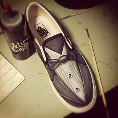 Custom Shoes by ~JordanMendenhall - classy tuxedo shoes Custom Painted Shoes, Painted Vans, Painted Sneakers, Hand Painted Shoes, Custom Shoes, Tennis Vans, Tuxedo Shoes, Like A Sir, Diy Accessoires