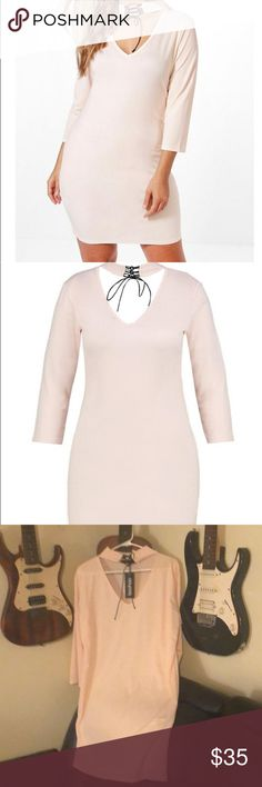 NWT Boohoo dress! Gorgeous pink long sleeve choker style lace up bodycon dress! Hate to part with this but I have to clean out my closet! Never even tried it on! Ready for spring! Boohoo Dresses Midi