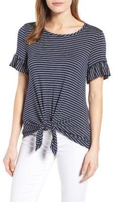 ec59e3429 Petite Women s Bobeau Bell Sleeve Tie Front Top Millenial Fashion