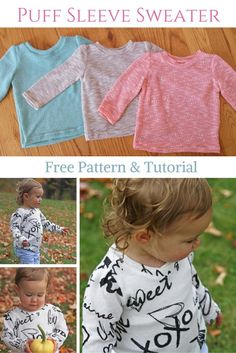 Sewing For Kids Sweater Tutorial and Pattern - A tutorial and free pattern for a puff sleeve classic sweater. Sewing Patterns Girls, Baby Girl Patterns, Baby Clothes Patterns, Kids Patterns, Dress Patterns, Knitting Patterns, Sewing Kids Clothes, Sewing For Kids, Diy Clothes