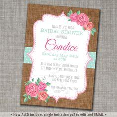 Shabby Chic Bridal Shower Invite  Bridal by CinnamonDoveParties
