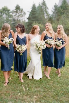 """From the editorial """"This Garden Chic Wedding Was Held At A Mountain Base"""". Jessica and Eddie had a chic and minimal vibe at the core of their wedding aesthetic and worked with @elleandjamesco to bring her vision to life.   Photography: @theganeys #stylemepretty #bridesmaids #bluebridesmaiddresses #bridesmaiddresses Chic Wedding, Wedding Trends, Wedding Ideas, Bridesmaid Dress Styles, Bridesmaids, Wedding Dresses, Bridal Parties, Diy Wedding Projects, Rustic Elegance"""