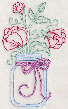 Blooming Sweet Peas in Mason Jar (Vintage) design (L9393) from www.Emblibrary.com