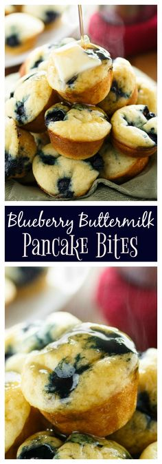 Warm & fluffy blueberry buttermilk pancake bites baked to golden perfection and topped with a pat of butter and warm maple syrup.