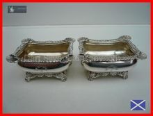 High Quality Pair of LARGE Antique Sterling Silver Master Salts Hallmarked 1812