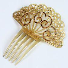 vtg AMBER celluloid ART DECO spanish mantilla hair comb headdress fan 20s 30s