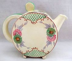 Clarice Cliff Early Sundew with Lattice Bonjour Tea Pot~C1930