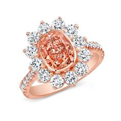 Pink On Rose Ring - Ring with Fancy Orangey Pink cushion shaped diamond accented with white diamond melee in 18kt rose gold.