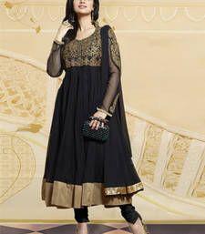 Buy Black embroidered Net semi stitched salwar with dupatta party-wear-salwar-kameez online