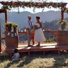 Rustic wedding altar