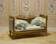 French Empire Style Daybed  Miniature Dollhouse by FrenchVellum. Dollhouse Miniature Furniture.