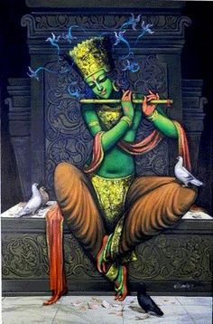 by Kishore Roy Krishna Painting, Krishna Art, Krishna Images, Lord Krishna, Radhe Krishna, Shiva, Indian Artwork, Indian Art Paintings, Contemporary Paintings