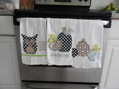 Happy Fall y'all - owl, pumpkin, harvest Dish Towel set of three by CreativeTableInc on Etsy