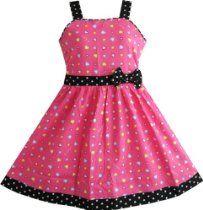 Girls Dresses Heart Print Pink Children Clothes Size 4-12