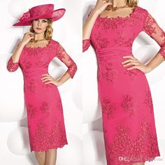 Joan Rivers On Fuchsia Lace Vintage Mother Of The Bride Groom Dress With Sheer Long Sleeves Appliques Sheath Knee Length Plus Size Evening Formal Gowns Joan Rivers Rivers From Whiteone, $111.76  Dhgate.Com