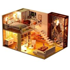 Robotime Dolls House DIY House Wood Modern House Dolls Accessories House einric