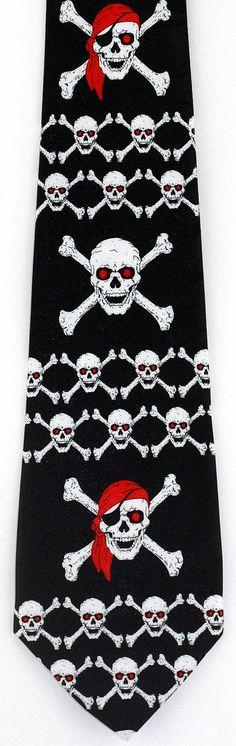 Skulls Crossbones Bow Tie Neck Necktie Halloween Pirate Costume Black Vampire