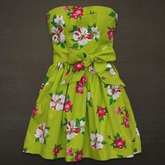Super Cute Green Floral Hollister Strapless Dress