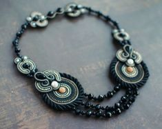 Soutache necklace, Black and gold necklace with jasper beads, Embroidered necklace, Crystal necklace, Soutache jewelry, FREE SHIPPING