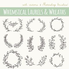 Whimsical Laurels & Wreaths Clip Art // por thePENandBRUSH en Etsy