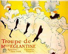 "TOULOUSE-LAUTREC - French Cancan. A poster publicising the ""Troupe de Meel Eglantine"", and featuring Eglantine, Jane Avril, Cléopatre, and Gazelle."
