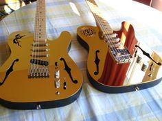 18-karat gold-plated guitars by Jhoseph King. Starting price of $1 million and complete with pseudo-oriental iconography.